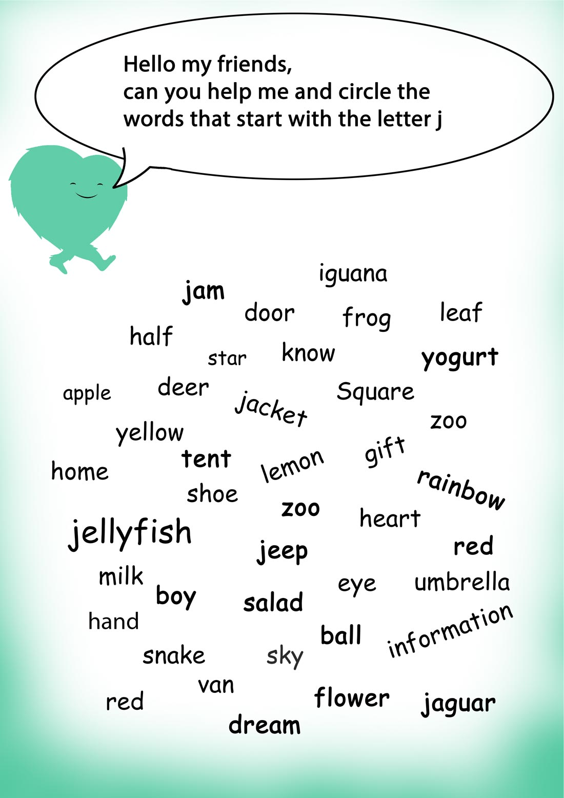 Words Starting With J Words Starting With Worksheets Learning