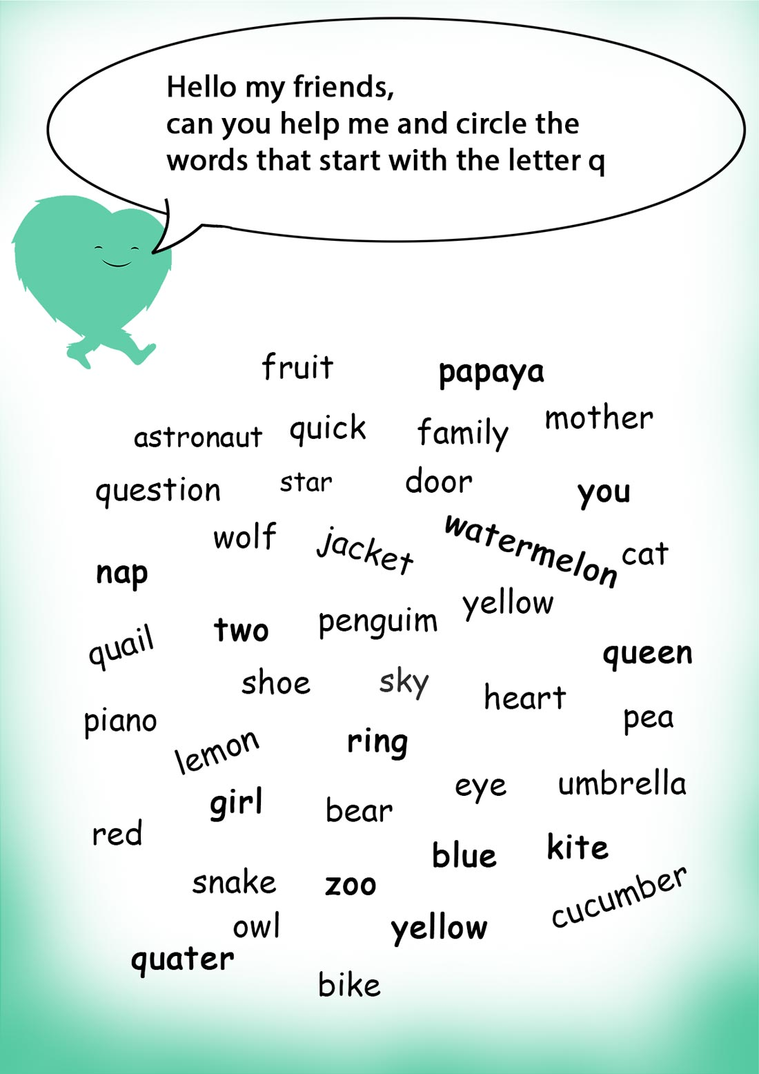 Words Starting With Q Words Starting With Worksheets Learning